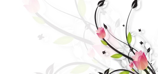 floral white and black template powerpoint