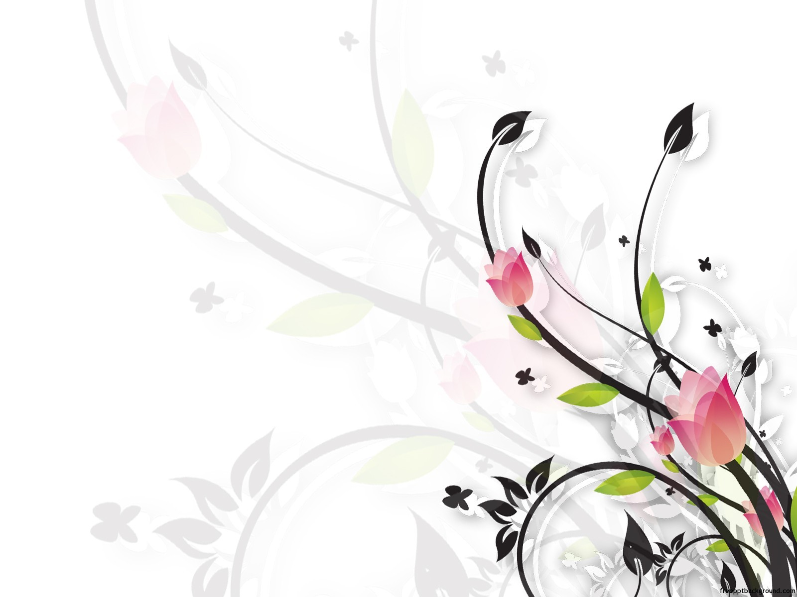 Floral White And Black Ppt Template Free Ppt Backgrounds