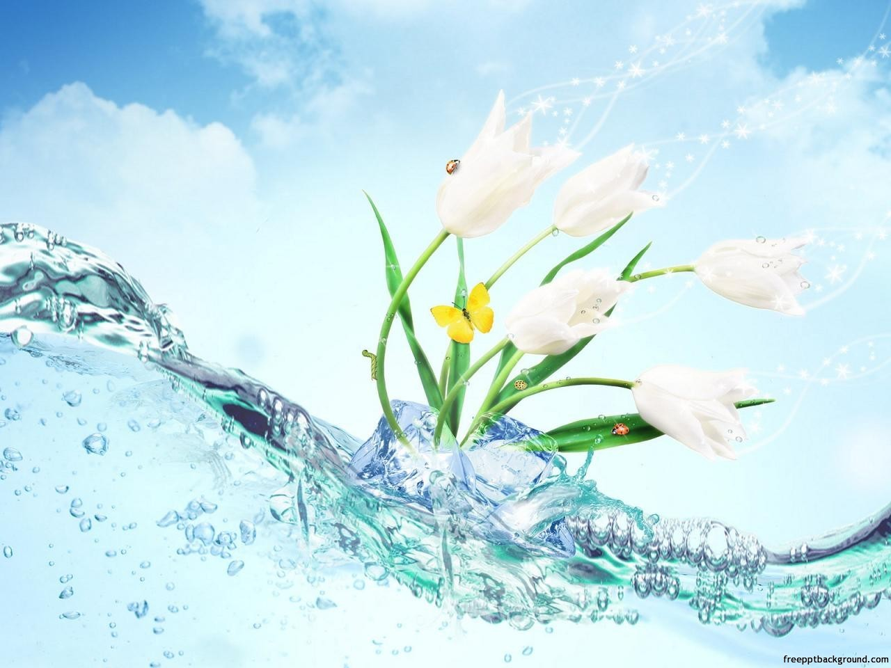 Wave Water With Flowers Powerpoint Free Ppt Backgrounds