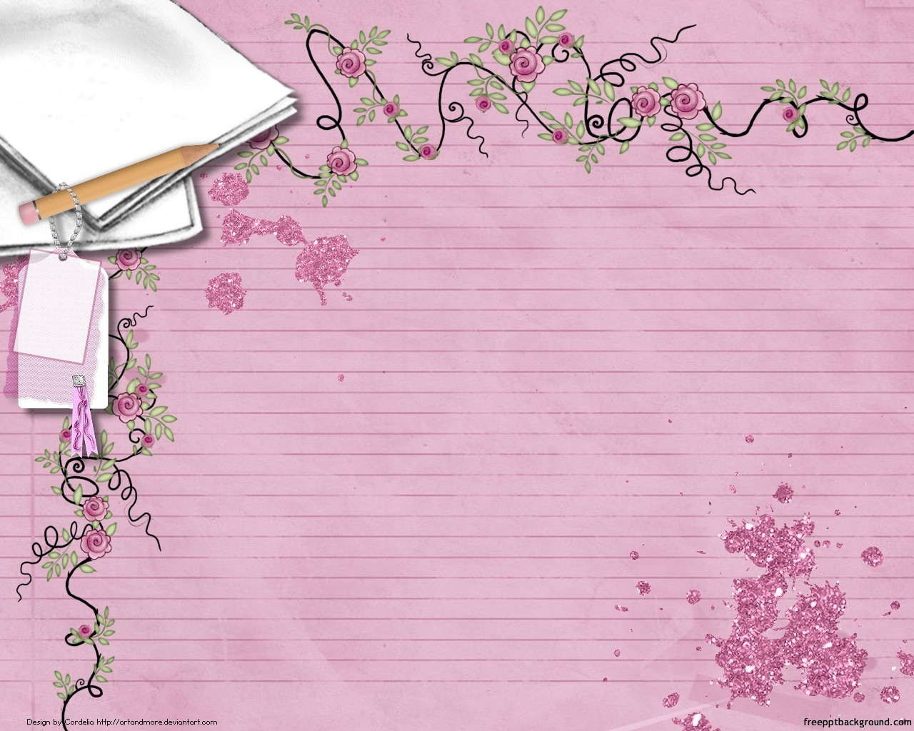 Notebook With Floral Border Free Ppt Backgrounds