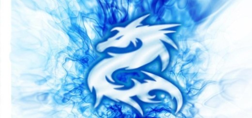 blue flame with dragon logo