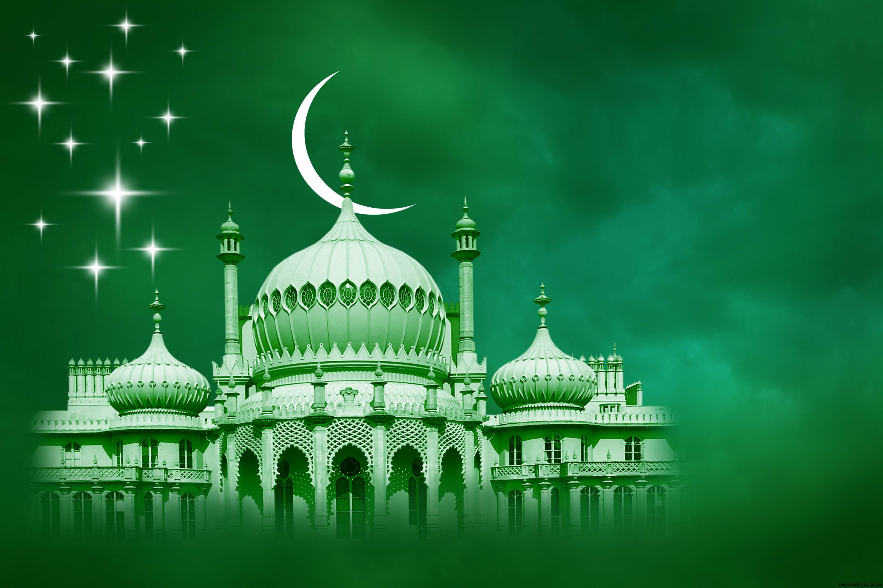 green islamic – free ppt backgrounds, Modern powerpoint